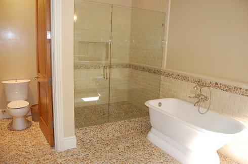Asian tan pebble tile pebble tiles pebble mosaic pebble mosaics Natural stone bathroom floor