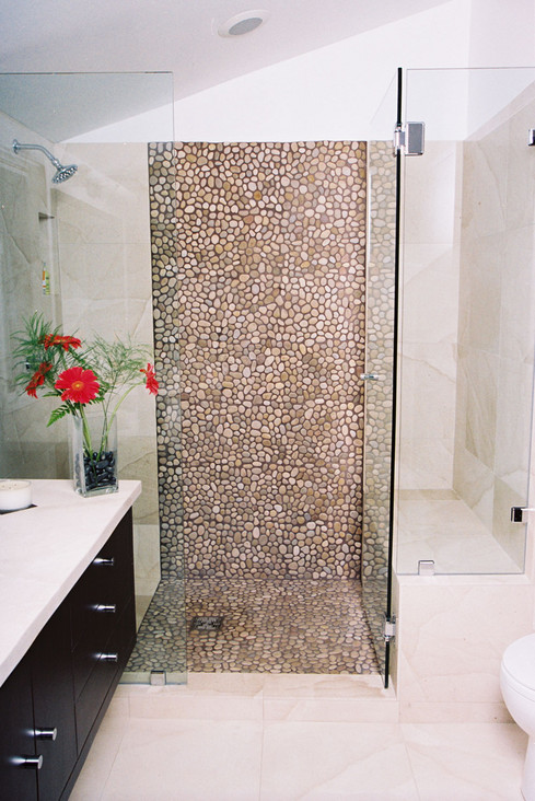 Brilliant Find This Pin And More On Bathroom Ideas Pic 2 Of Pebble Shower Floor Shower Done In Bands Of Travertine And Pebble Tile Pebble Backsplash And Accents  Chic Fashion Pins  The Cutest Pins Around! These Are The Stone Tiles I