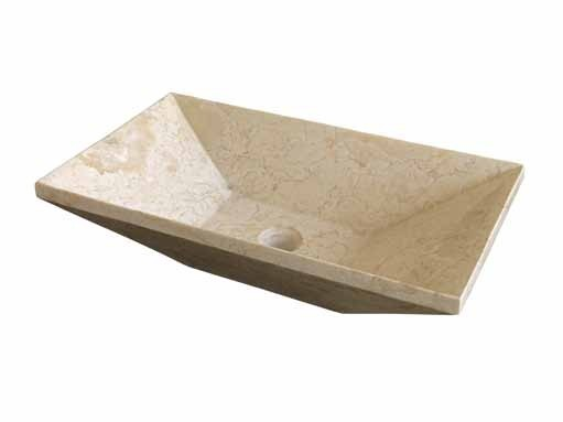 Cream Granite Sink : Cream / Beige Stone Marble Trapezio Sink 60 cm x 35 cm x 15 cm