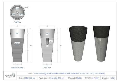 Free Standing Pedestal Sink : Free Standing Black Marble Pedestal Sink Bathroom 90 cm x 40 cm ( Cono ...