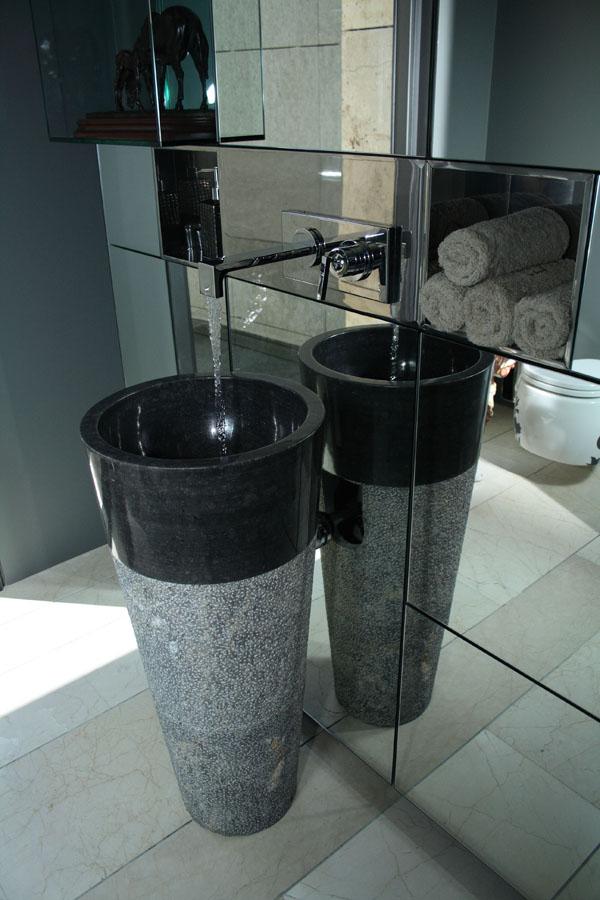free standing black marble pedestal sink bathroom 90 cm x 40 cm cono model. Black Bedroom Furniture Sets. Home Design Ideas