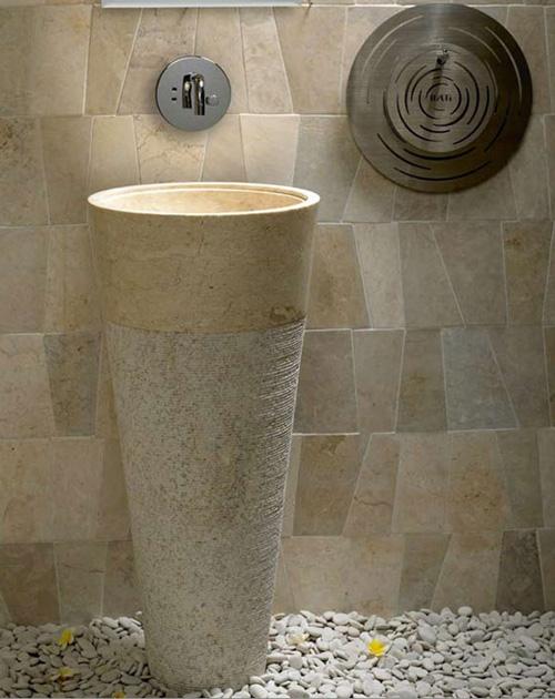 Free Standing Pedestal Sink Cream Marble Bathroom 90 cm x 40 cm ( Cono ...