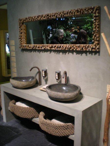 Wash Basin Bathroom Sink : River Rock Granite Mini Bathroom Sink Stone Wash Basin