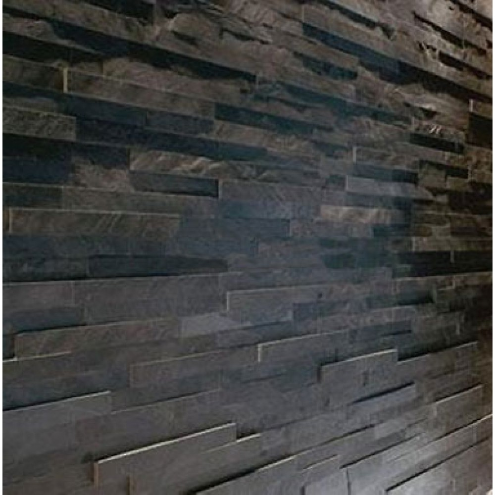 Dark Slate Tile : Sample black slate split face mosaic tile