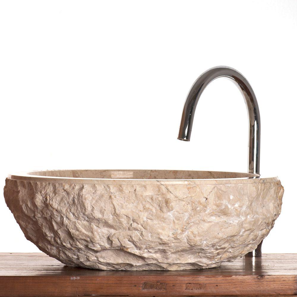 Marble Vessel : Verona / Scrula Cream Marble Stone Vessel Sink 45 cm ( large model )