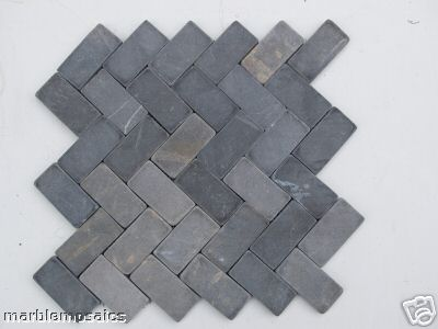 grey herringbone mosaic tile