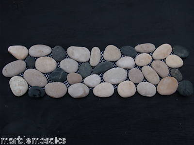 black and beige pebble border tile