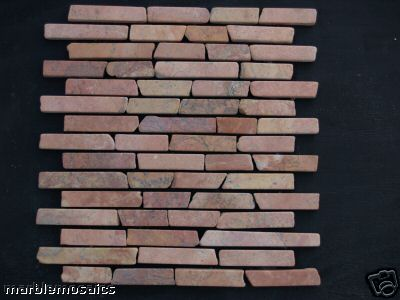 red brickbone mosaic tile